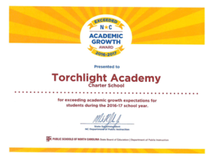 torchlight academy academic growth award certificate